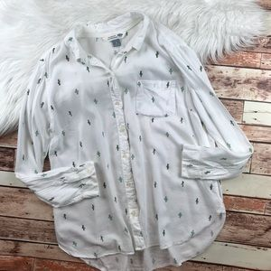 Cactus printed button down blouse